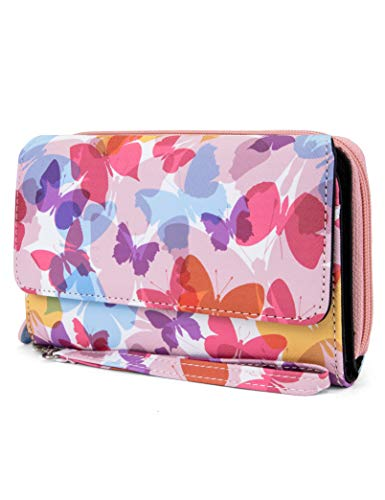 MUNDI Big Fat Womens RFID Blocking Wallet Clutch Organizer Removable Wristlet (Float Like A - Handbag Top Zip Butterfly