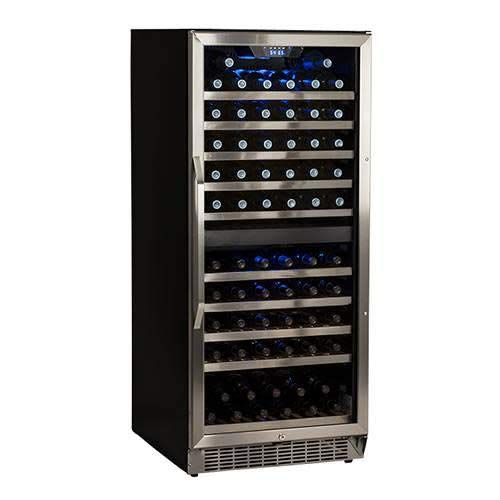 EdgeStar CWR1101DZ 110 Bottle Built-In Dual Zone Wine Cooler - Stainless Steel...