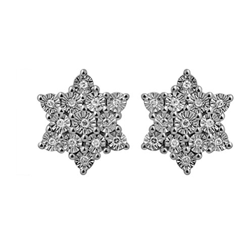 Raksha Bandhan Gifts Star Shape Earring for Women : Sterling Silver Star Illusion Plate 0.13ct Diamond Rhodium studs earrings
