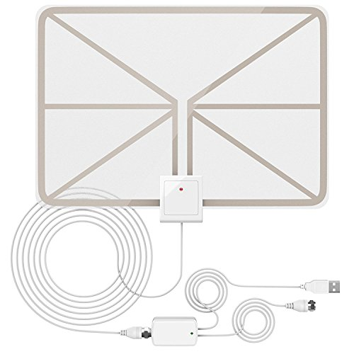 QERY 50 Miles 1080P Digital TV Antenna , Indoor Amplified HDTV Antenna with Detachable Amplifier Signal Booster, USB Power Supply and 16.5FT High Performance Coax Cable - Better Reception