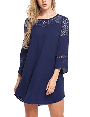 leeve Lace Patchwork Loose Casual Mini Chiffon Dress (Large, Navy Blue) ()