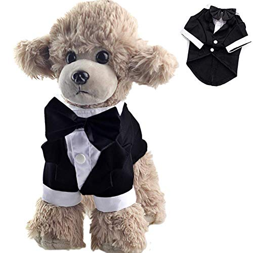 ANIAC Formal Suit Wedding Party Tuxedo Black Bow-Knot White Collar Stylish Tail Clothes Cats Dogs (Large)