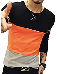 Mens Crew Neck Cotton Casual Fit Contrast Color Stitching T-Shirt