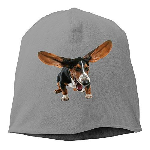 Pduw Top Level Beanie Hat for Men Women Knit Hat Basset Hound Dog Cotton Skull Cap