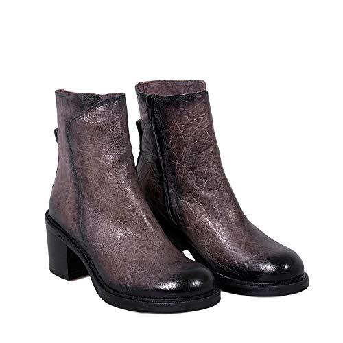 Boots Tomber Gris Gris Zip Cuir B489 avec Chaussures Amour Molly Femme Véritable Felmini en S7zECq
