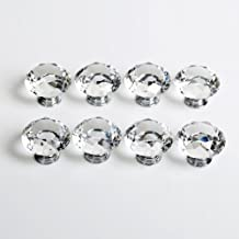 Revesun 10PCS/LOT Diameter 40mm Clear Crystal Glass Diamond Shaped Door Knobs Cabinet Pulls Cupboard Handles Drawer Knobs Wardrobe Home Hardware