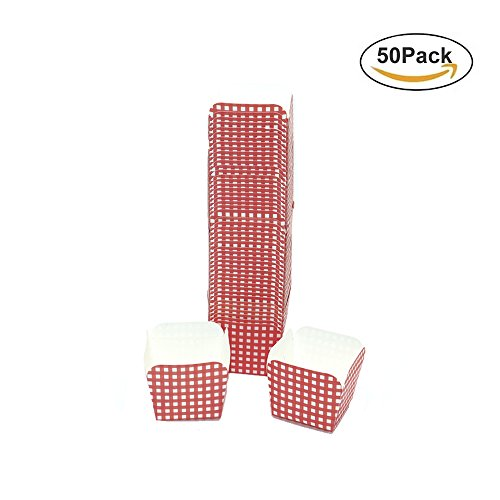 HUELE 50PCS Mini Red With White Lattice Plaid Design Square Cupcake Papers Baking Cups liners Bakeware Mold(1.9''x1.9''x1.9'')