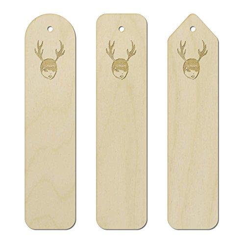 3 x 'Boy With Antlers' Engraved Birch Bookmarks (Antler Birch)