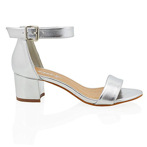 Strap Peep Low Metallic 8 3 GLAM ESSEX Ladies Toe Silver Size Block Shoes Sandals Womens Heel Ankle Buckle qwv4xXtF