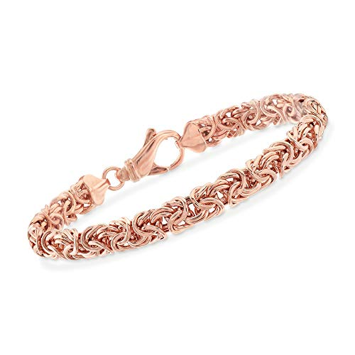 Ross-Simons 18kt Rose Gold Over Sterling Silver Byzantine Bracelet from Ross-Simons