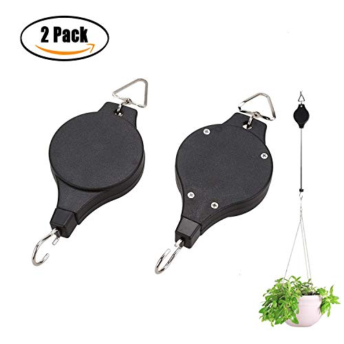 BeautiLife Retractable Plant Pulley Adjustable Hanging Flower Basket Hook Hanger for Garden Baskets Pots and Birds Feeder Hanging Basket Indoor Outdoor Decoration(2pcs,Black)