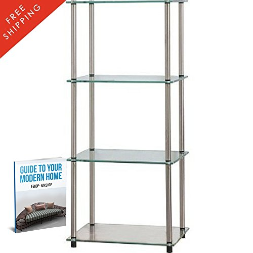Modern Bookshelf Decor Four Shelves Glass Stainless Steel Small Best Contemporary Office Standing Bookcase Library Furniture Storage Wall Unique Living Room Home And eBook By - Glass Steel Bookcase