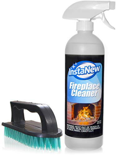 - InstaNew Fireplace Cleaner Bundle with Brush, 16 Ounce; Heavy Duty; Cleans Any Wood or Gas Fireplace; Brick, Stone, Hearth; Removes Creosote, Soot, Grease, Ash and More