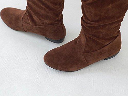 Maybest Dames Herfst Winter Suède Platte Schoenen Laarzen Modieus Slouchy Scrunch Knielengte Platte Laarzen Bruin