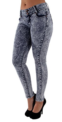 - Fashion2Love 82508MS - Plus Size, Butt Lifting, Levanta Cola, Skinny Jeans in Acid Wash Blue Size 20