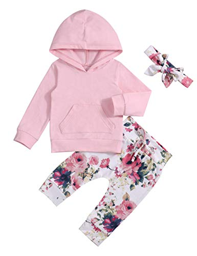 Baby 6 9 12 18 24 Months Girl Clothes Pink Hoodie Floral Pants with Headband for Newborn Infant Toddler 3Pcs Winter Outfit Sets 6-12 Months ()