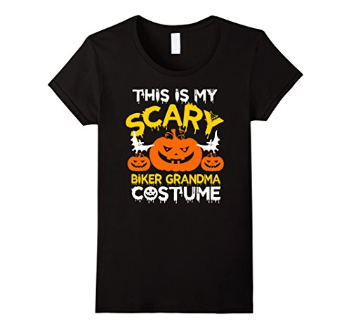 Female Biker Halloween Costume (Womens This is my Scary Biker Grandma Costume Halloween T-shirt Large Black)