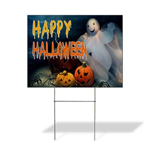 Plastic Weatherproof Yard Sign Happy Halloween Scary Pumpkin