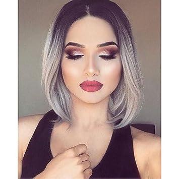 Damen Perücke Synthetische Lace Front Wavy Schwarzgrau Ombre Haar