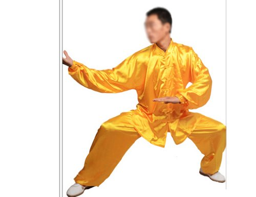 """Tai Chi Uniform - luxurious Korean Silk, stretch TaiChi suits, Traditional Tai Chi Clothing for your Tai Chi Exercise, 12 colors and styles, Black, White, Red, Pink, Claret, Shocking Pink, Gold Yellow, Light Yellow, Mazarine, Lake Blue, Light Sky Blue, Lilac Purple, White with Red Cuff and Frogs Button (Gold Yellow, Medium (5'5"""" - 5'8&..."""