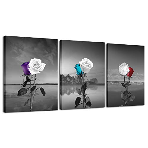 (LKY ART Canvas Print Wall Art White Purple Rose Picture Flower Painting on Grey Black and Background,Modern Artwork Plants Decor 3 Panel Frame Landscape Poster Lake for Bedroom)