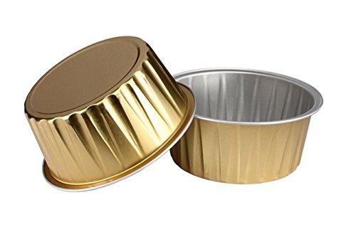 KEISEN 3 2/5'' mini Disposable Aluminum Foil Cups 125ml 100/PK 4OZ for Muffin Cupcake Baking Bake Utility Ramekin Cup (GOLD) by Keisen
