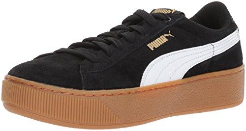 Puma WoMen Vikky Platform Fashion Sneaker, Black, 5 UK Puma Black-puma White-metallic Gold