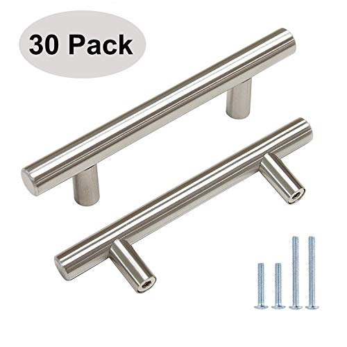 Aimyoo Cabinet Handles - Pack of 30 Brushed Nickel Finish Hollow Tube T Bar Drawer Pulls with 2 Screw Sets for Kitchen Furniture Hardware (6