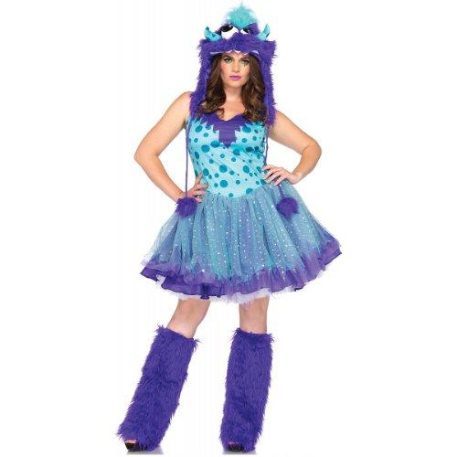 Leg Avenue Women's Plus-Size 2 Piece Polka Dotty Monster Costume, Aqua/Purple, ()