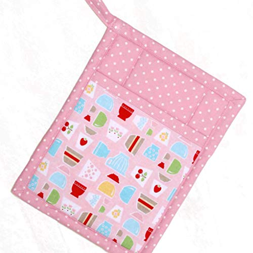 1 Pocket Pot Holder With Hanging Loop - Retro Bowls, Cherries, Strawberries and Tulips Print on Pink