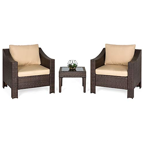 Best Choice Products Set of 2 Outdoor Wicker Club Patio Accent Chairs w/Side Table for Porch, Patio, Poolside - Brown
