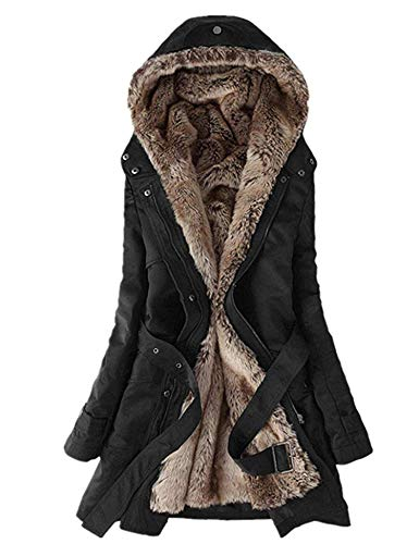 Faux Detachable Fur (Romanstii Women Anroaks Jackets Thicken Warm Winter Coat Faux Fur Hood Parka Overcoat Long Jacket Outwear Detachable Faux Fur)