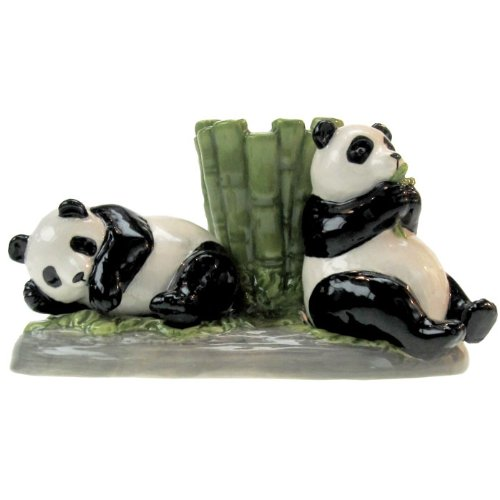 (Westland Giftware Mwah Pandas Magnetic Ceramic Salt and Pepper Shaker with Toothpick Holder Set, 2.75-Inch)