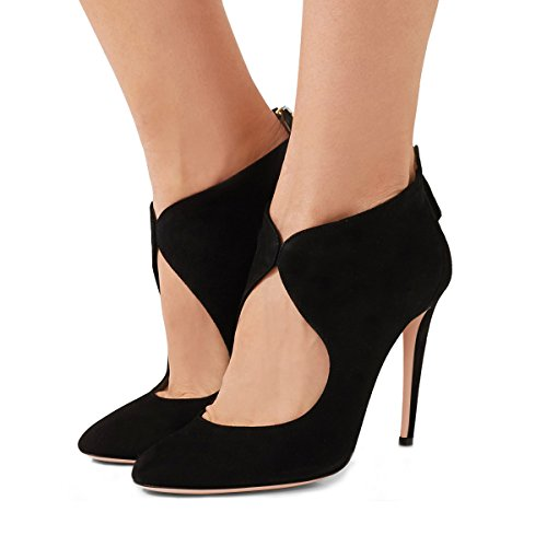 FSJ Women Stylish High Heel Pumps Round Toe Faux Suede Stilettos Cut Out Zipper Shoes Size 4-15 US Black tDD7D4