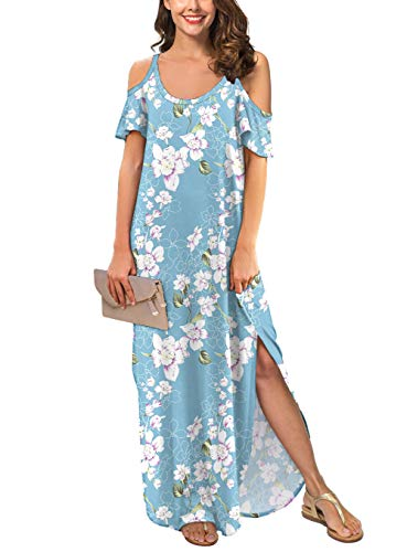 GRECERELLE Women's Summer Strapless Strap Cold Shoulder Casual Loose Dress Cover Up Long Cami Split Floral Print Maxi Dresses with Pocket Light Blue-2XL