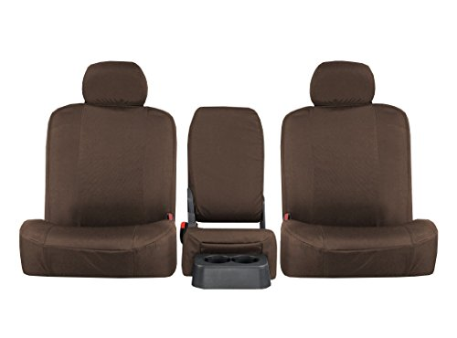 Canvas Heavyweight Belt - REAR SEAT: ShearComfort Custom Atomic Pro-Tect Seat Covers for Pontiac Vibe (2009-2010) in Tan for 40/60 Split Back Solid Bottom w/ 3 Adjustable Headrests and Seatbelt in Backrest