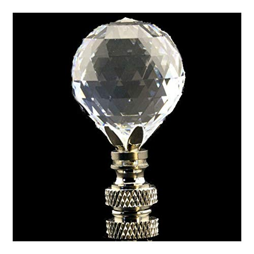 (Cut Crystal Faceted Ball LAMP Shade Finial ON Swivel Nickel)