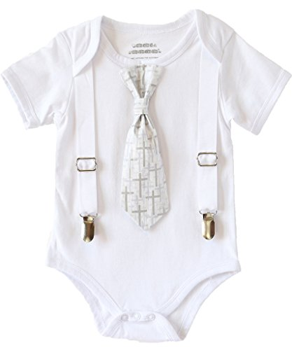 Noah's Boytique Baby Boys Baptism Christening Suit White Cross Tie Outfit 6-12 - Vest Satin Six After