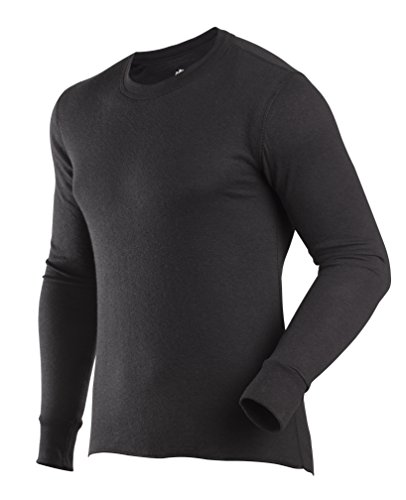ColdPruf Men's Basic Dual Layer Long Sleeve Crew Neck Base Layer Top, Black, Medium Cold Weather Polypropylene Underwear Top