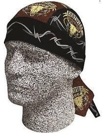 Danbanna Deluxe Certified Tough Longhorn Cow Skull Horns Bandana Head Wrap Cap Hat Cloth Sweatband (Skull Deluxe Cap)