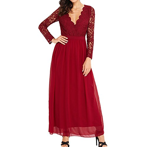 Autumn Lace Hollow Out Slim Party Dresses(Red) - 3