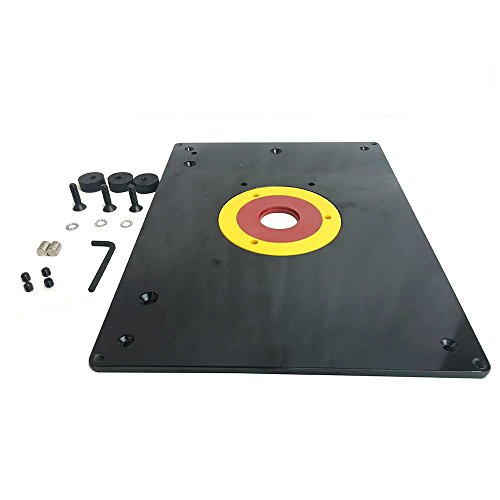 Big Horn 18101 9-Inch x 12-Inch Router Table Insert Plate with Guide Pin & Snap Rings - Router Table Insert