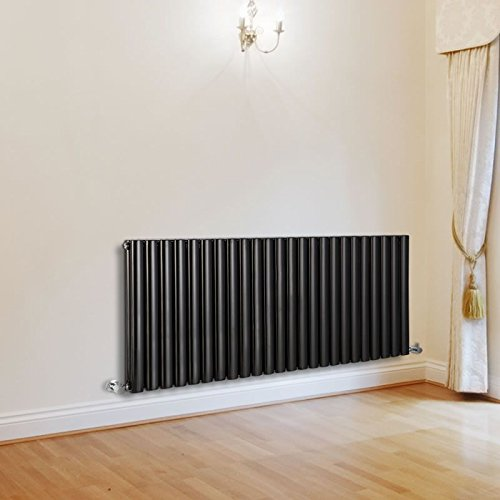 Hudson Reed Revive - Luxury Black Horizontal Designer Double Radiator Heater & Angled Valves - 25'' x 55.5'' - Mild Steel Hydronic Warmer - 2,727 Watts - 24 Vertical Oval Columns - Fixing Pack Included by Hudson Reed (Image #1)