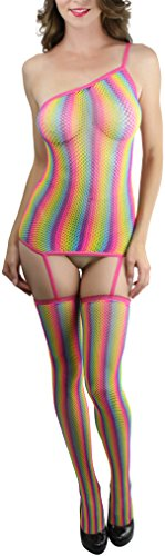 (ToBeInStyle Women's One Shoulder Rainbow Fishnet Garter Stockings - Rainbow)