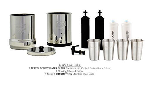 TRAVEL Berkey Water Filter System w/2 Black Purifier Filters (1.5 Gallons) Bundled w/1-set of Fluoride Filters (PF2) & 1-set of 4 Boroux 12oz Stainless Steel Cups