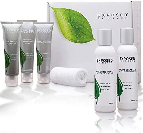 Exposed Skin Care Moisturizing Expanded 5-step Acne Treatment/Dry Skin Kit (60 Day) - Heals and Prevents Adult and Teen Breakouts with Benzoyl Peroxide Salicylic Acid and Healthy Natural Extracts