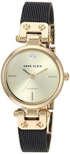 Anne Klein Women's Genuine Diamond Dial Gold-Tone and Black Mesh Bracelet Watch