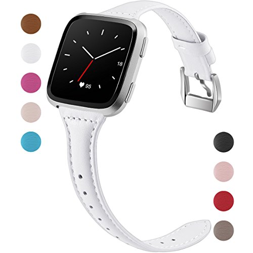 Maledan Compatible with Fitbit Versa Bands Women Men Large Small, Slim Genuine Leather Band Accessories Replacement Strap for Fitbit Versa Smart Watch, White, Small Size