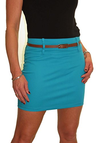 ICE Mini Skirt Stretch Sateen Bodycon Turquoise Blue 4-14 (4)