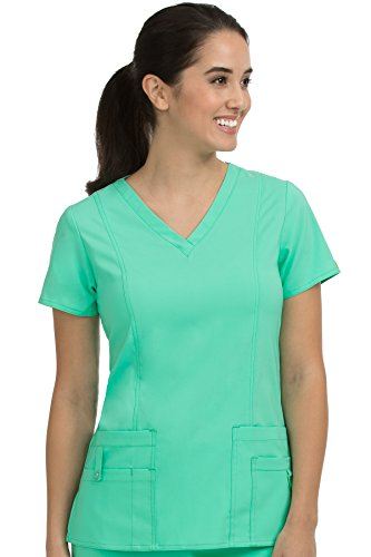 Med Couture Women's 'Activate' V-Neck In-Motion Classic Scrub Top, Sea Crystal, Large (Crystal Apparel Sea)